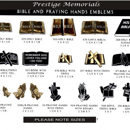 BRONZE BIBLE AND PRAYING HANDS EMBLEMS
