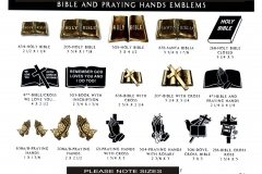 BRONZE BIBLE AND PRAYING HANDS EMBLEMS