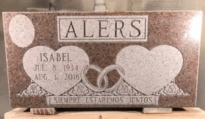 Pink Granite Flush Memorial with Hearts and Flowers
